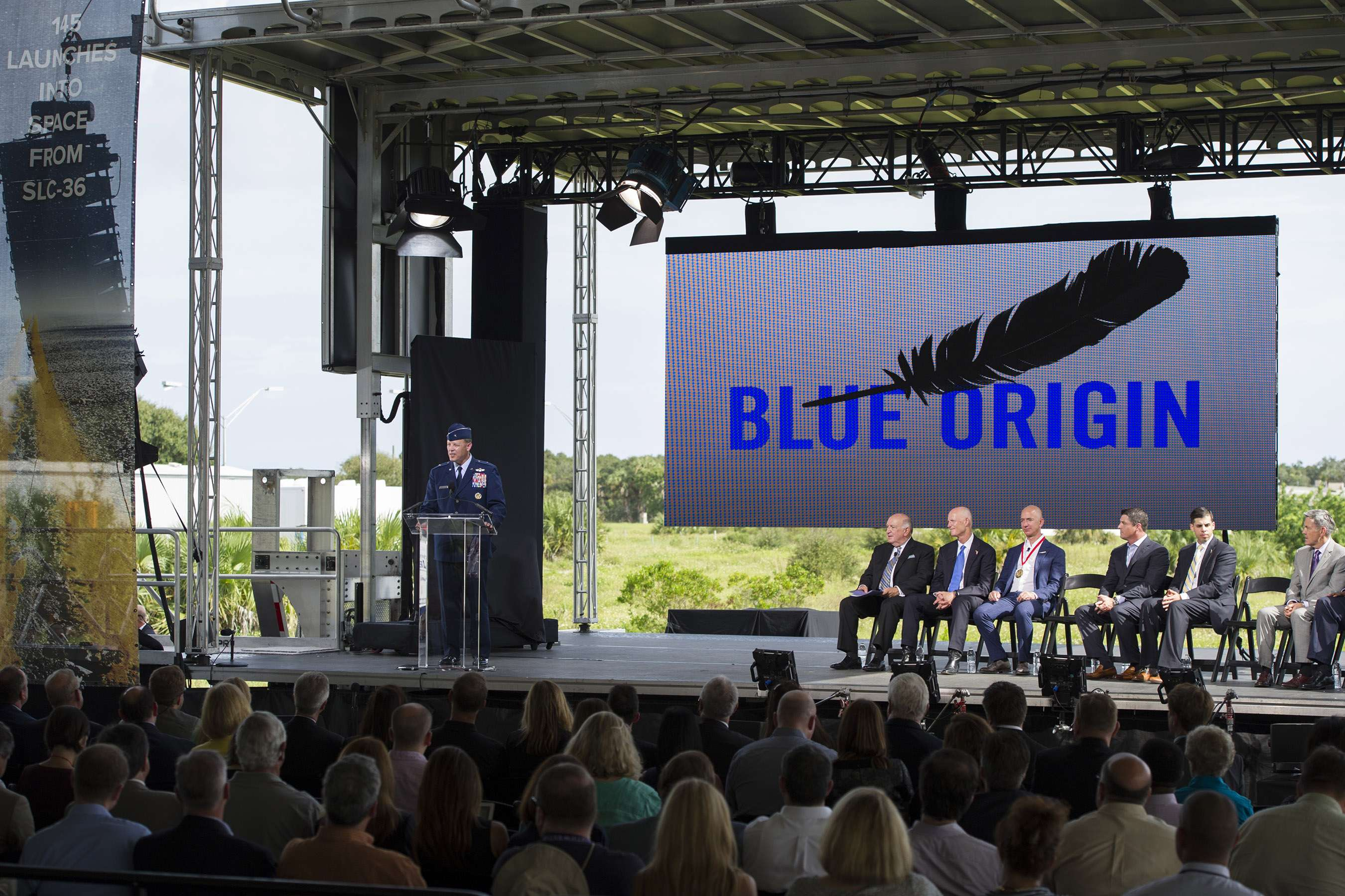 Brig. Gen. Steven Garland, 14th Air Force vice commander provides remarks at a Blue Origin media event held at Space Launch Complex 36 at Cape Canaveral Air Force Station, Florida on September 15, 2015. (Image Credit: U.S. Air Force/Matthew Jurgens)
