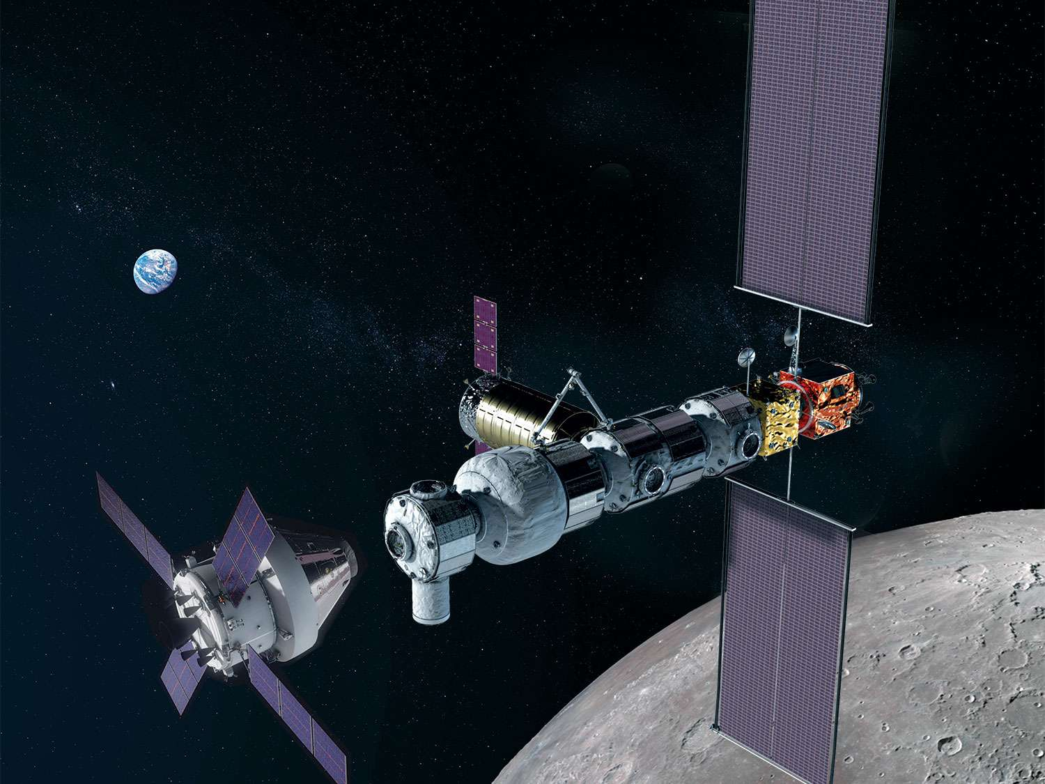An illustration of NASA's Orion spacecraft approaching the Gateway in lunar orbit. (Image Credit: NASA)