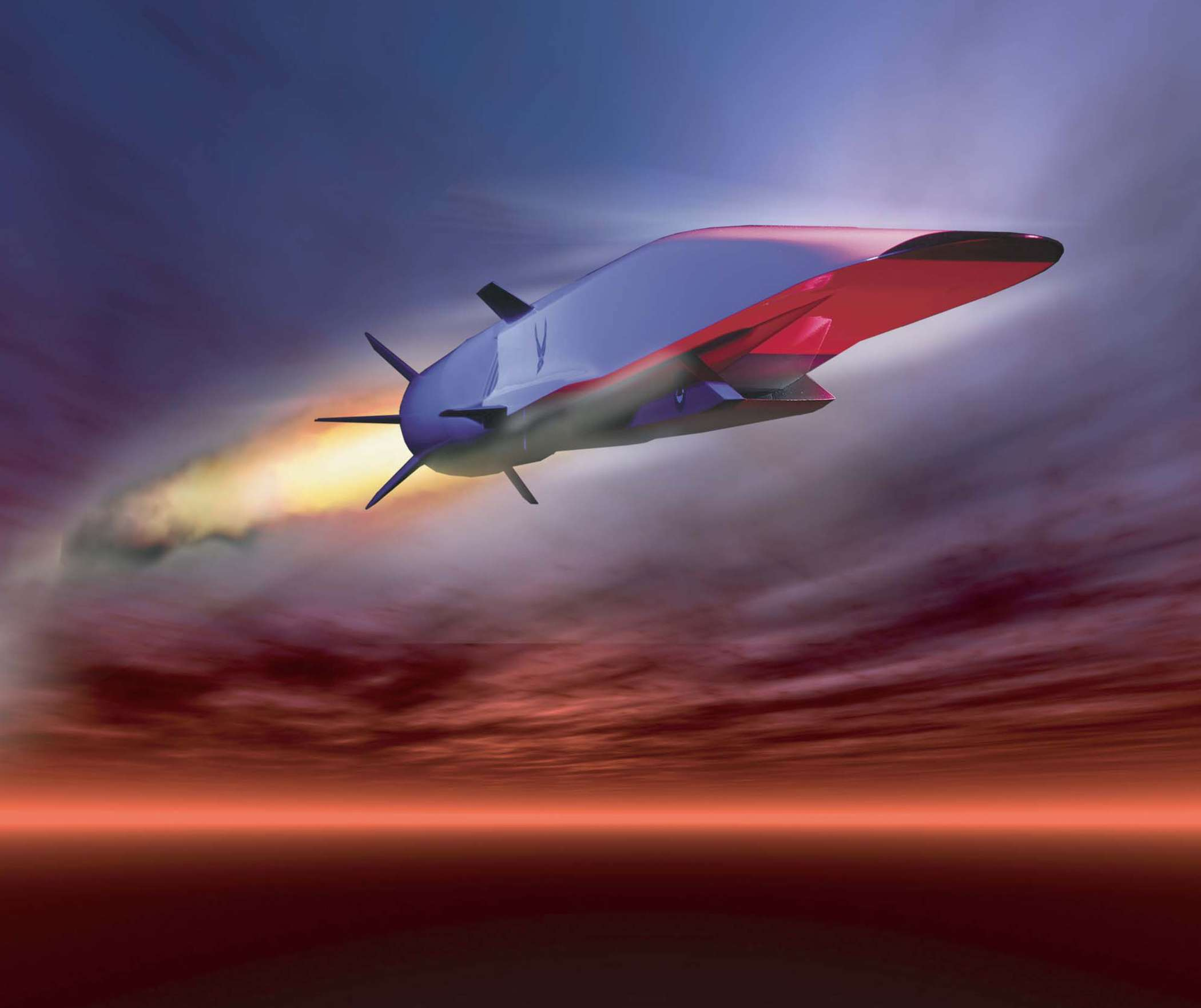 A graphic image of the Boeing's X-51A Waverider hypersonic aircraft. (Image Credit: U.S. Air Force)