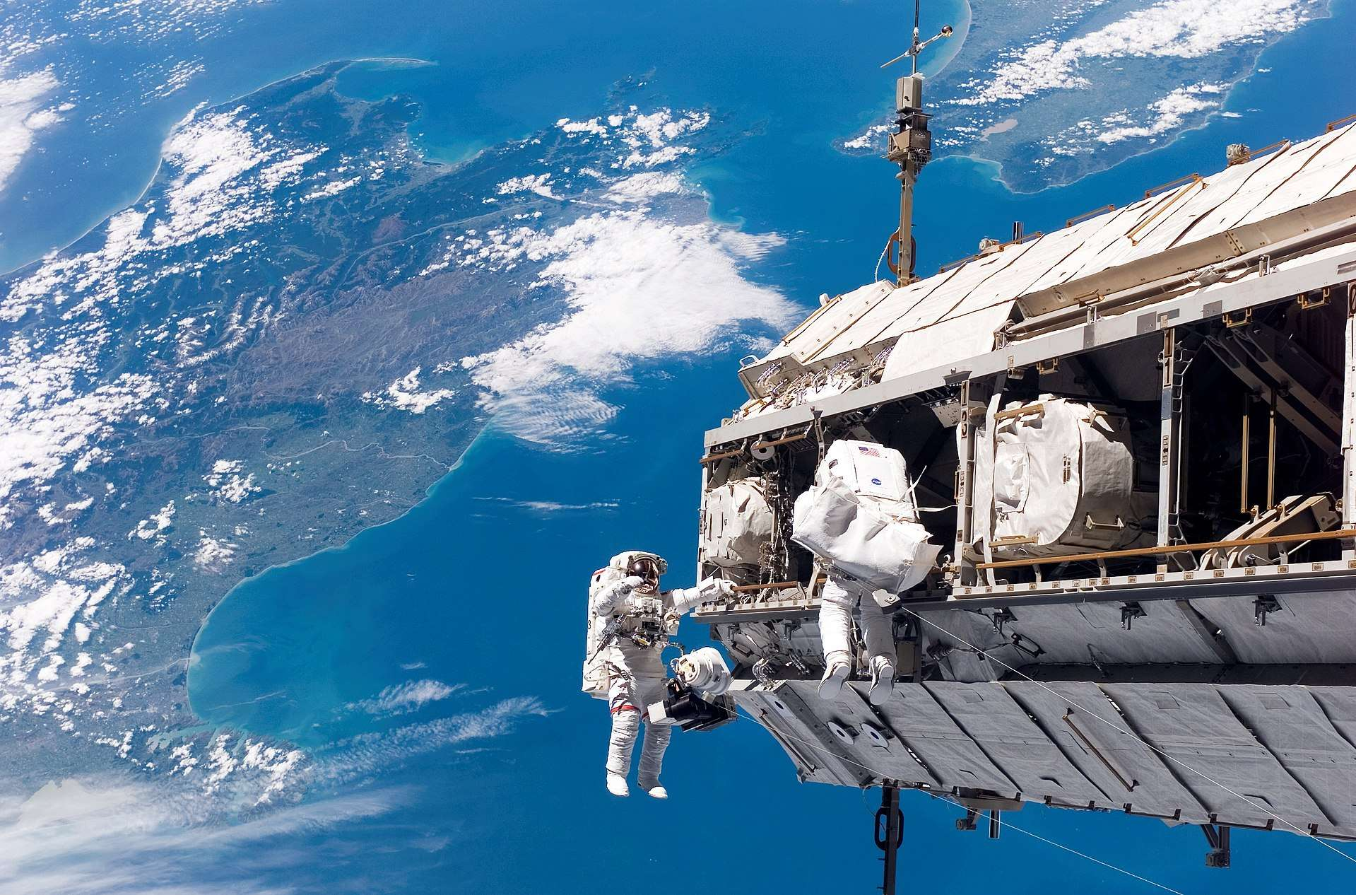 American and European space agency astronauts construct the International Space Station on December 11, 2006. (Image Credit: NASA)