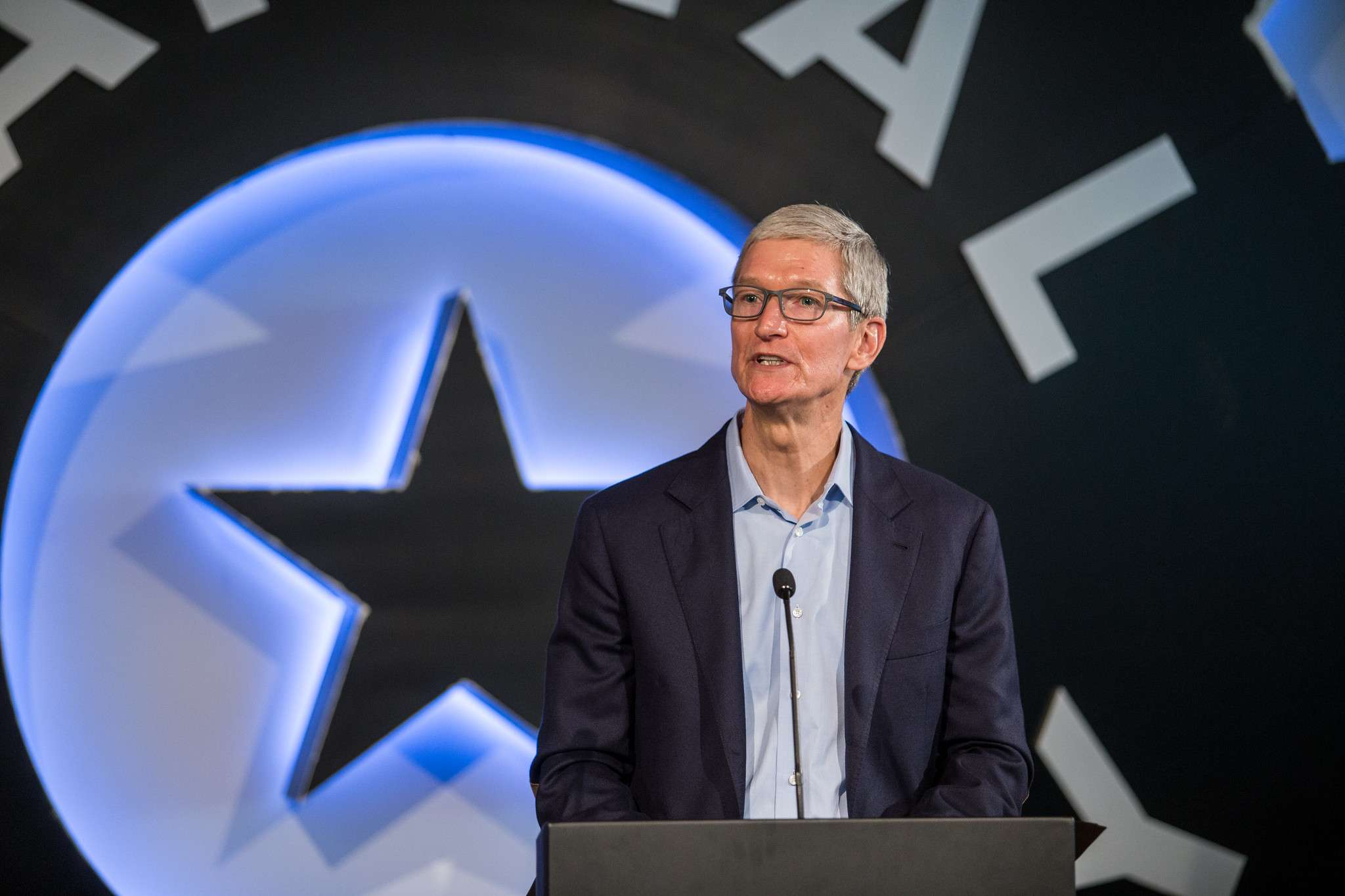 Apple CEO Tim Cook speaks at the Capital Factory in Austin, Texas on an app development partnership with Austin Community College on Friday, August 25, 2017. (Image Credit: Austin Community College)