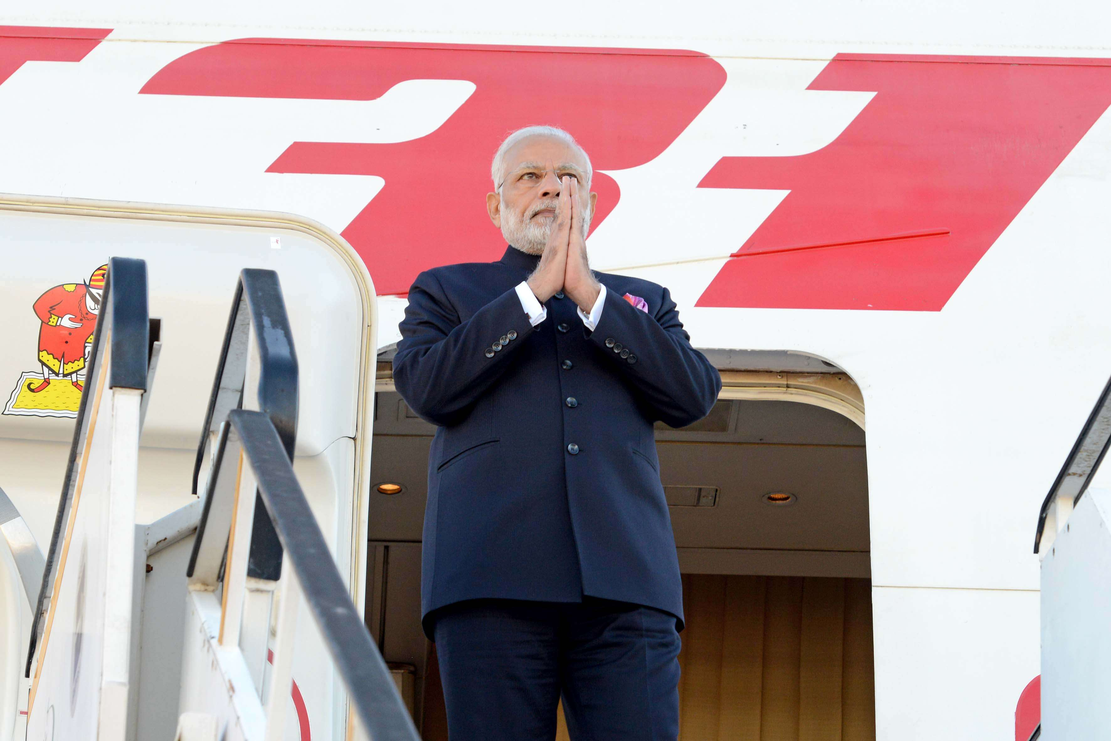 Indian Prime Minister Narendra Modi arrives at Waterkloof Air Force Base in Pretoria, South Africa on July 25, 2018 to attend the BRICS Summit. (Image Credit: Government of South Africa/Flickr)