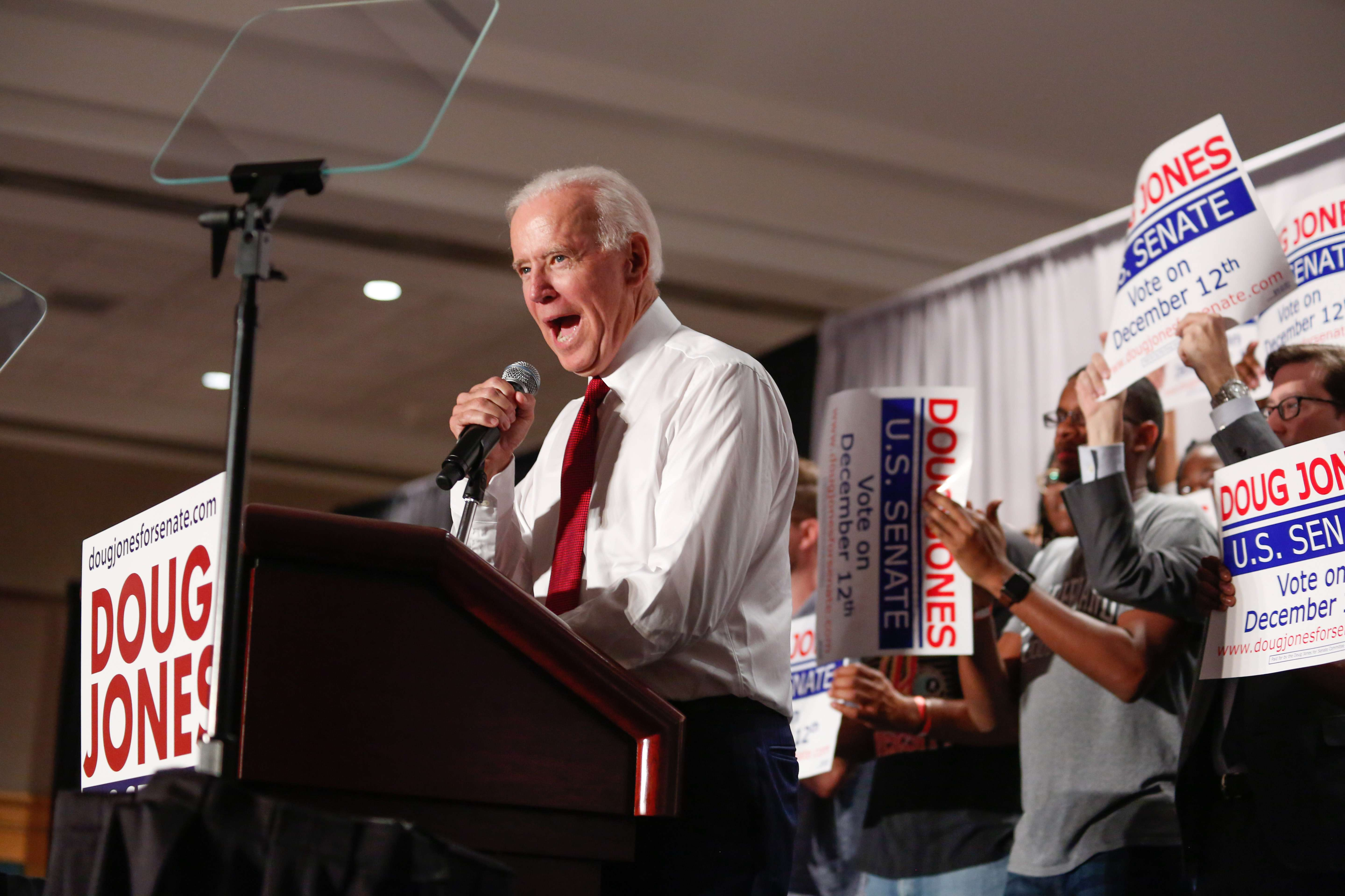 Former Vice President Joe Biden speaks at an event in support for U.S. Senate candidate Doug Jones on October 3, 2017. (Image Credit: Doug Jones for Senate Campaign)